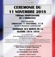 Cérémonie du 11 Novembre 2018
